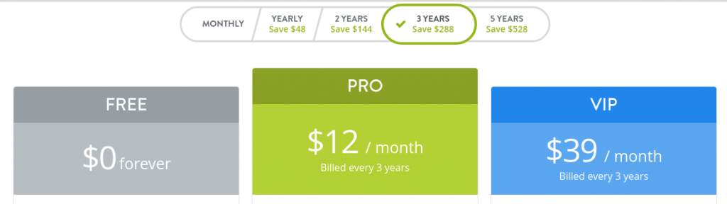 Strikingly 3 years pricing plans