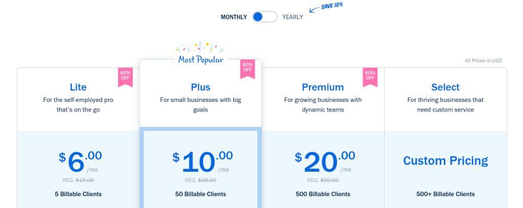 freshbooks pricing plan monthly